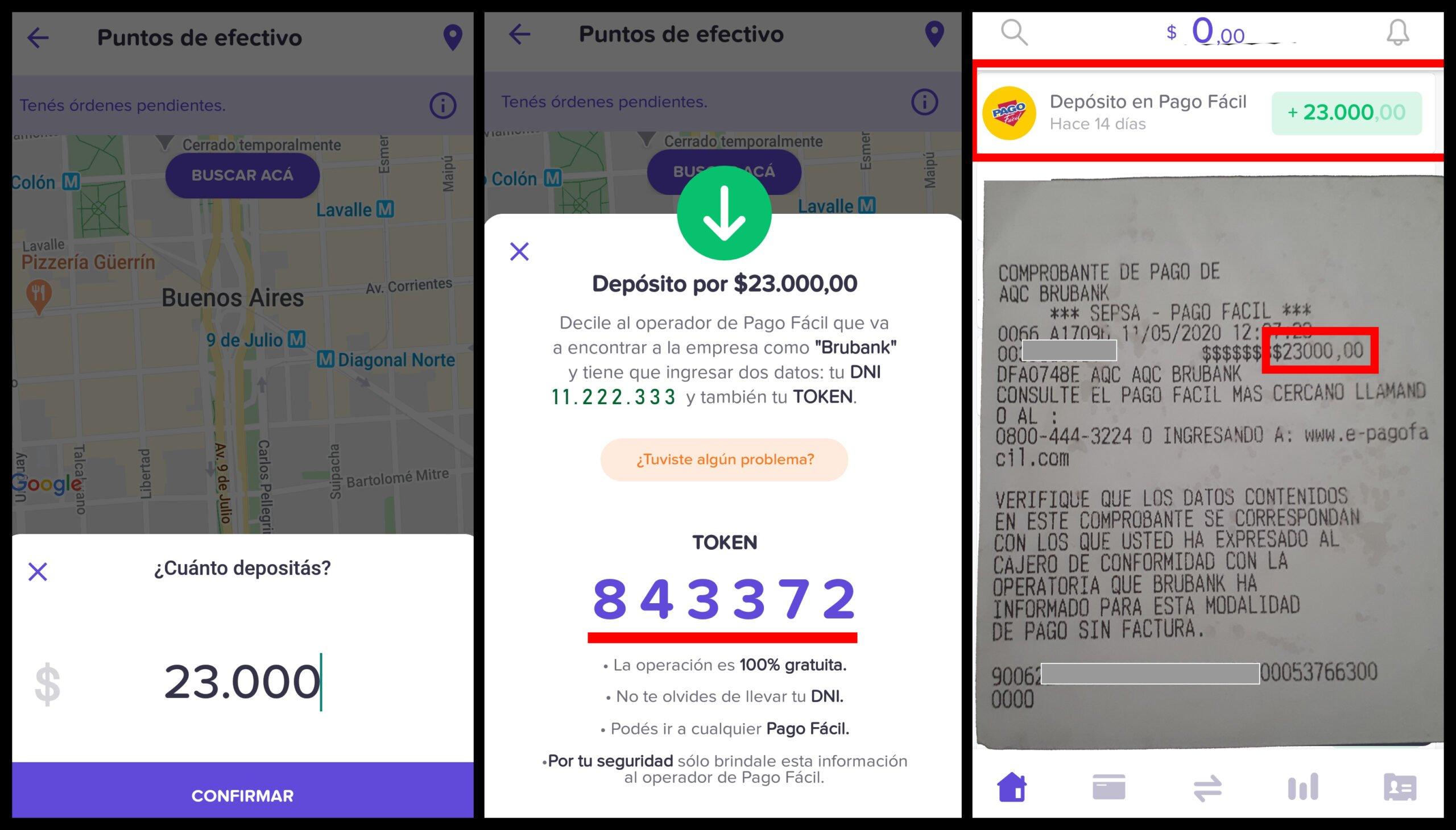 como depositar dinero en Brubank con Pago Fácil tutorial